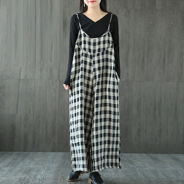 Plus Size S-5XL ZANZEA Women Check Plaid Dungaree Jumpsuits Overalls Vintage Strappy Casual Loose Harem Pants Long Trousers