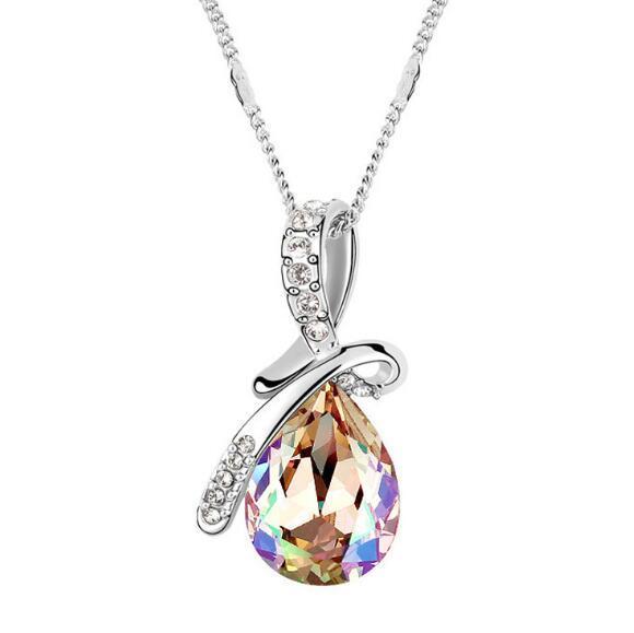 мода женщина ювелирные изделия использование swarovski элементы Кристалл ожерелье Mantingfang девушка студент украшения падение кулон горячие продажа