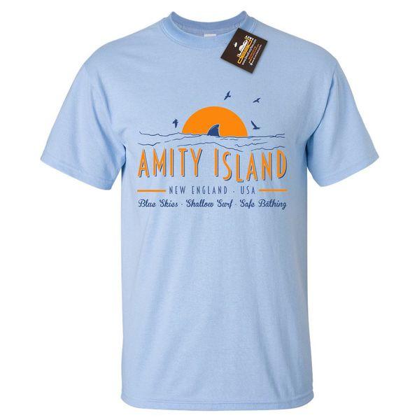 Amity Island Welcomes You Jaws Shark Men T-Shirt Retro Women Unisex TShirt