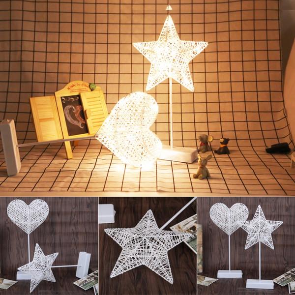 Heart LED Night Light Rattan Home Cafe Bedroom Table Lamp Bedside Desk Light A23