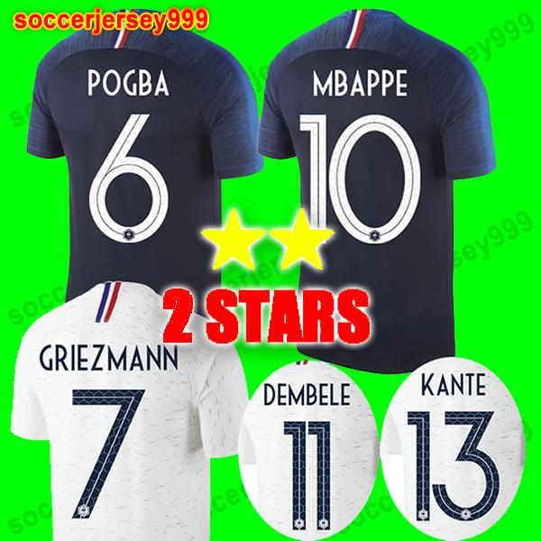 Thailand Soccer jerseys 2018 world cup Maillot de foot equipe GRIEZMANN POGBA MBAPPE KANTE DEMBELE GIROUD football shirt uniforms 2 stars