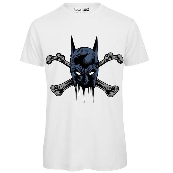 T-Shirt Divertente Uomo Maglia Cotone Con Stampa Disegni Teschi Ossa Batbones Camisetas Homem Roupas Frete Grátis Top Tee