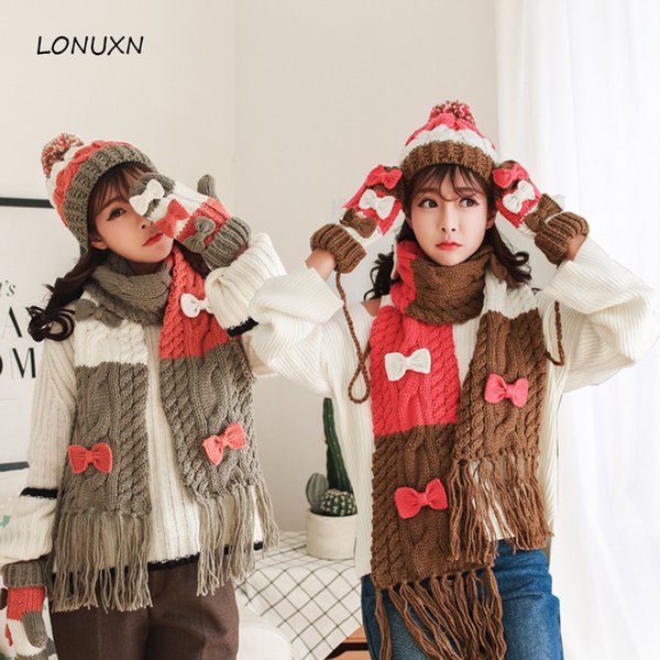 High quality 4 colors 3 pieces/lot new Hat + scarf + glove female Korean hooded collar winter warm and comfortable one gift set
