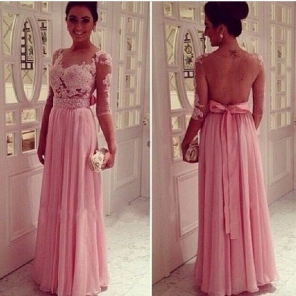 Elegant Long Evening Dresses With Sleeves Party Chiffon Women Floor Length Formal Dresses Evening Wear Gowns On Sale