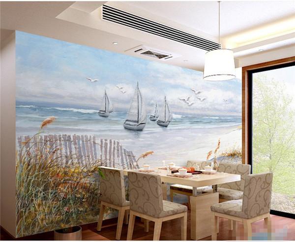 Acheter Mer Bateau Mur Papier Peinture Peinture à L Huile Paysage Peintures Murales Salon Canapé Tv Dosseret Revêtements Muraux Papiers Peints