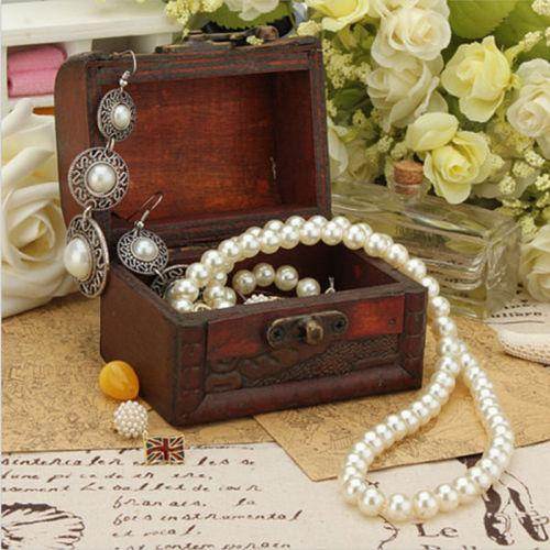 Chic Hot Ring Pearl Necklace Earrings Bracelet Display Wooden Case & Jewelry Packaging Display Storage Box