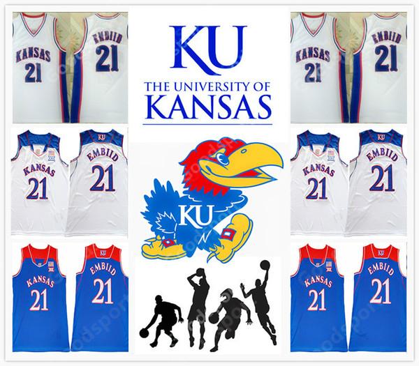 Kansas university NCAA 21 Stitched Embiid Stitched embroidery Swingman jerseys Jersey SHIRTS speed whole sport basketball shirts Joel