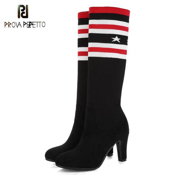 Prova Perfetto Europeo popolare Marca Donne Tacchi alti lunghi sottili stivali sottili Vendita calda Stretch lana Knit Sock stivali alti al ginocchio