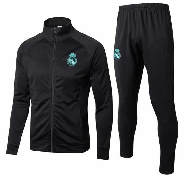 2018 Real Madrid RONALDO Giacche da calcio 17 18 Real Madrid Adulto Tuta nera con pantaloni 2018 Real Madrid Tuta da allenamento maniche lunghe