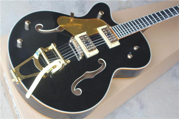 Left Handed Ebony Fingerboard Custom Shop Black Hollow Body 6120 Jazz Chitarra elettrica Golden Binding Hardwarer