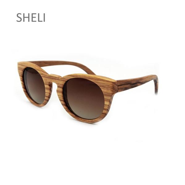 Großhandel Holz Sonnenbrille Runde Polaroid Vollformat Brillen Vintage Retro Unisex UV Schutz Beschichtung Linsen Designer Brand Glasses