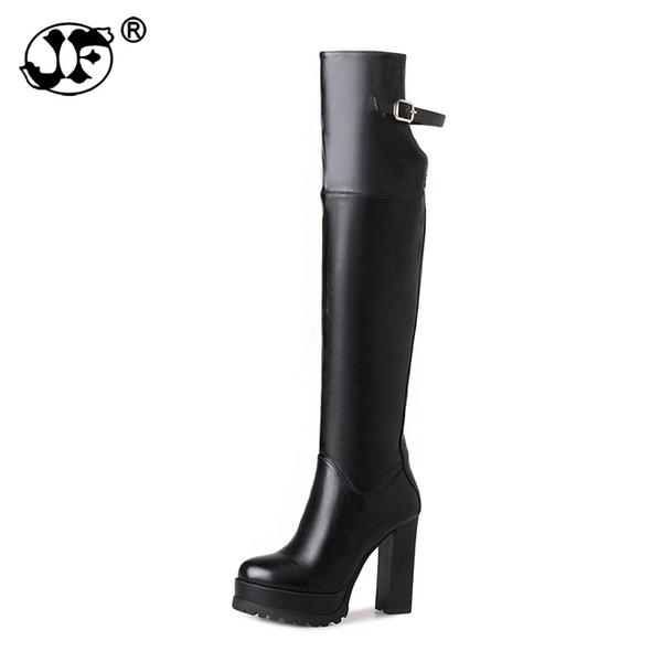 Artı Boyutu 33-43 Kadın Ayakkabı Kadın Kalın Platformu Yüksek Topuk Sürme Çizmeler Kış Diz Üzerinde Çizmeler Ayakkabı Siyah Kırmızı gb89