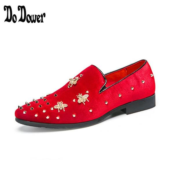 2019 Stickerei Loafers Männer Samt Schuhe Designer schwarz RED Männer Rauchen Hausschuhe Hosen männlichen Hochzeit und Party Kleid Schuhe 38-45