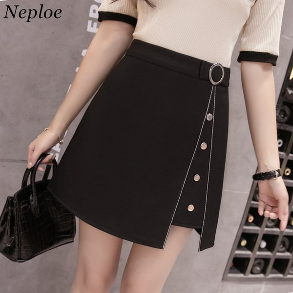 Neploe Summer A-line Skirts Women Black Irregular Above Knee Mini Skirts High Waist Shorts Korean Ladies Skirt Jupe 35514