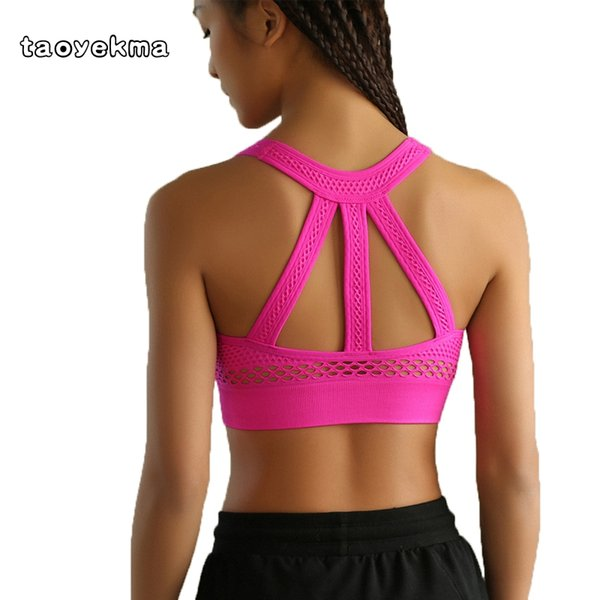 e80bbbd276234 2018 Sexy Halter Women Sports Bra Push Up Running Underwear Yoga Tank Crop  Top Hollow Out Fitness Gym Shirts Athletic Vest B64
