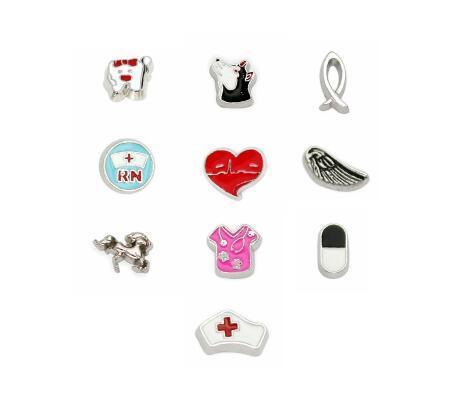 Çoklu Choise 20 Adet / grup Hemşire At Kalp RN Kanat Yüzer Locket Charms DIY Aksesuarlar Cam Yaşam Hafıza Locket Tatil Hediye Için Fit