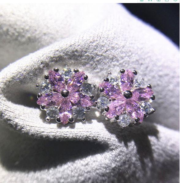 Mode Ohrringe Damen Doppel Perlen Ohrstecker Zirkonia Strass Blumen Ohrschmuck