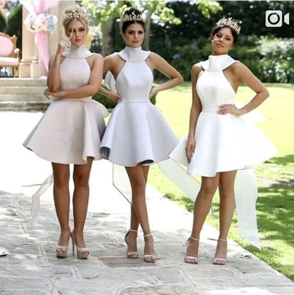 Modest Short Bridesmaid Dress Satin Halter Back Zipper Tutu Skirt Maid Of honor Short Prom Dress