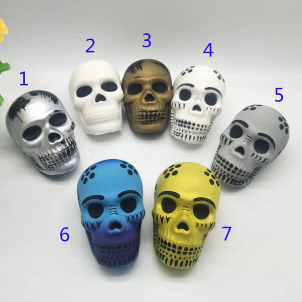 Fidget PU Halloween 7 Color skull toys Squishy Slow rebound squishy Simulation Funny Gadget Vent Decompression toy B