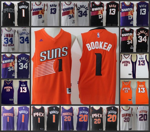 new style f47ae b13c3 2018 2017 18 New Season Phoenix Suns Men Jersey #1 Devin Booker 20 Josh  Jackson 34 Charles Barkley 13 Steve Nash Stitched Jerseys From ...