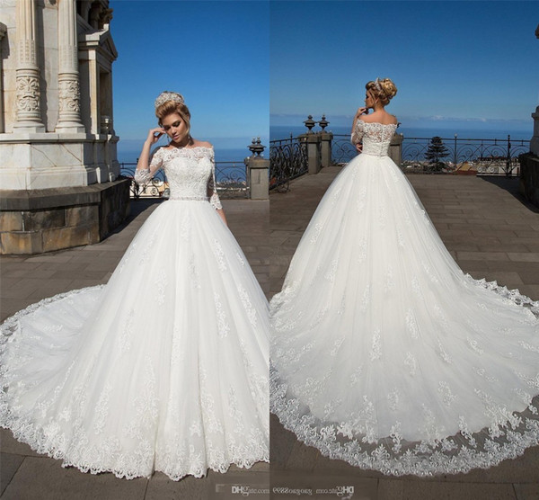 Hot Sales White Wedding Dresses Half Sleeves Lace Appliques Off Shoulder Tulle A Line Bridal Gowns Covered Button