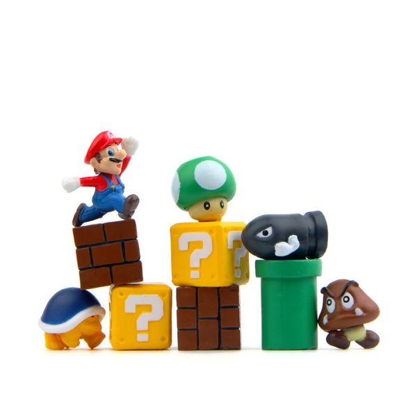 10pcs 1set Mini Super Mario Bros Figure Mario Bullet Mushroom Tortoise Wall Well PVC Action Figure Model Toys DIY Decoration KKA4831