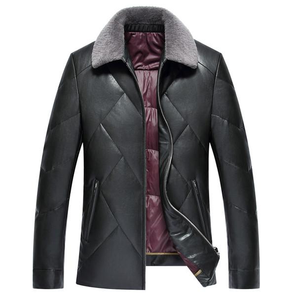 collo di pelliccia caldo ispessisce il 90% piume d'anatra bianca cappotto 2017 autunno e l'inverno di cuoio sottile outwear giacca parka uomini casuali dei nuovi uomini