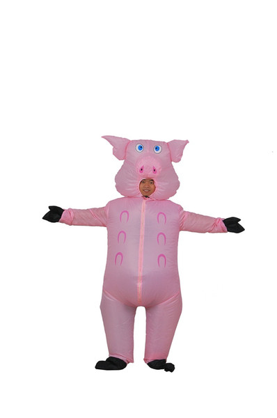 Halloween Inflatable Costume Suit Pink Pig mascot Pigs Blow Up Animal Farm Fancy Dress Costume WSJ-14