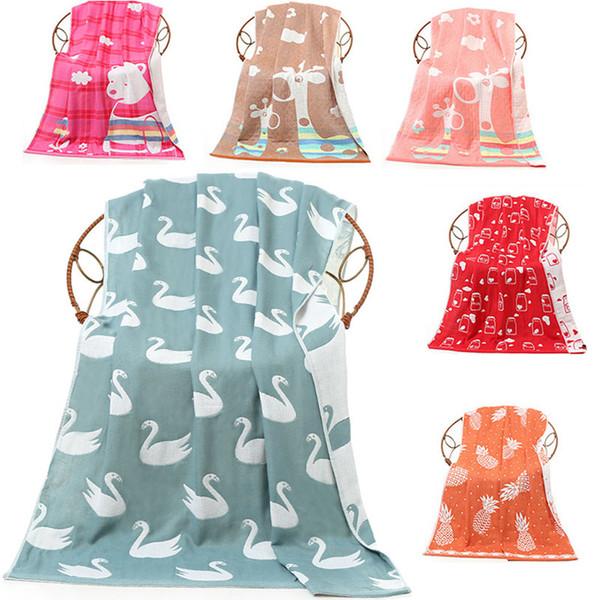 Asciugamano da bagno di alta qualità 70 * 140cm per adulti Cartone animato per bambini Confortevole asciugamano da bagno a tre strati con accessori per il bagno WX9-454