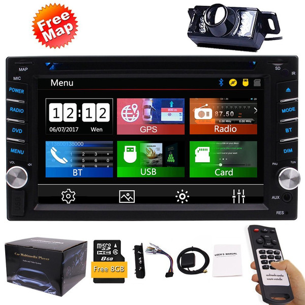 Backup Camera+Double Din Car Stereo DVD Player GPS Navigation Radio Bluetooth 2 Din USD SD 1080P SWC Car Logo Multi Language Remote Control