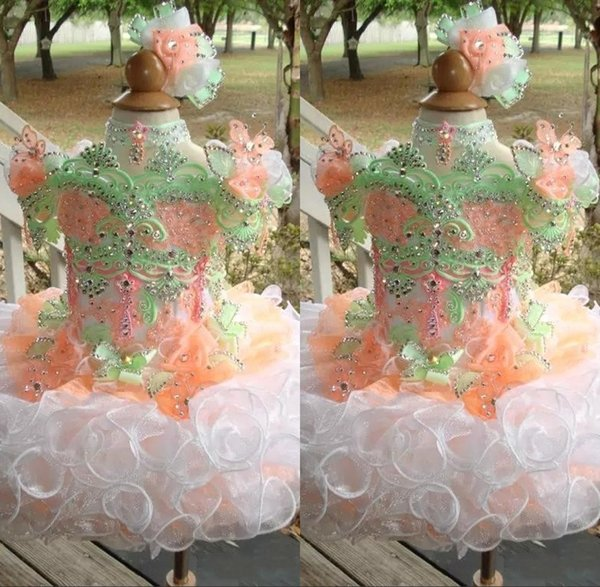 Cupcake Toddler Girls Pageant Dresses Princess Flower Girls Ball Gown Straps Blingbling Sequins Beads Puff skirt Girls dresses for Party