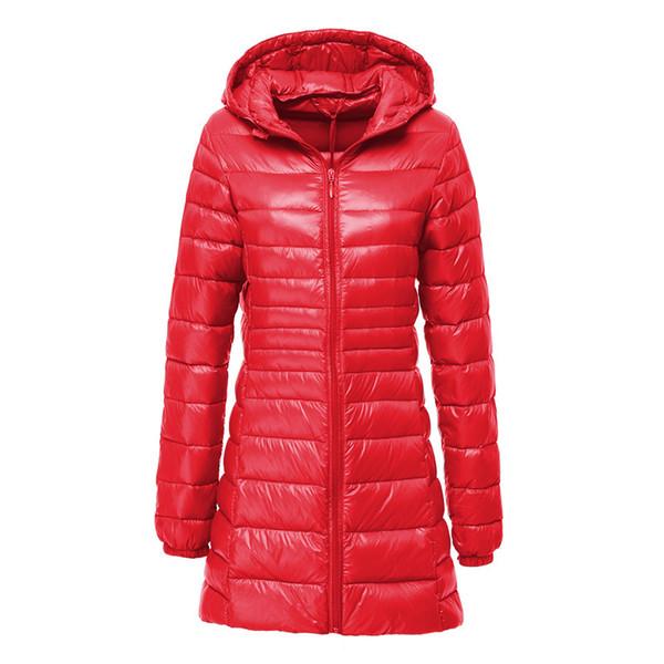 New Winter Down Jacket Women Casual Slim Hooded White Duck Down Jacket Outwear Ultralight Warm Thin Coat Female Parkas 6XL 7XL S18101505