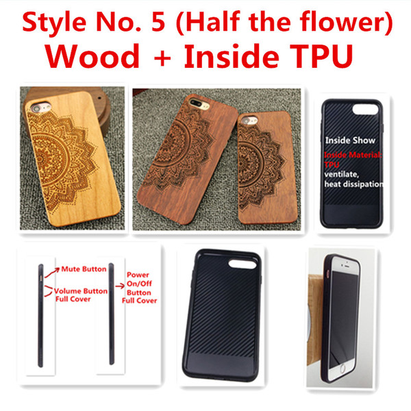 Style No. 5 (Half the flower) Real Genuine Natural Wood Wooden Bamboo TPU Back Cover Cases for iPhone X 8 7 6S 6 Plus 5 5S SE