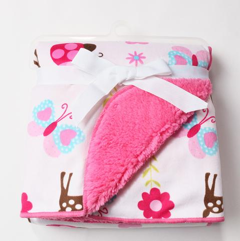 Butterfly floral pink soft cartoon double - layer short plush blanket children 's spring and summer air - conditioned blanket