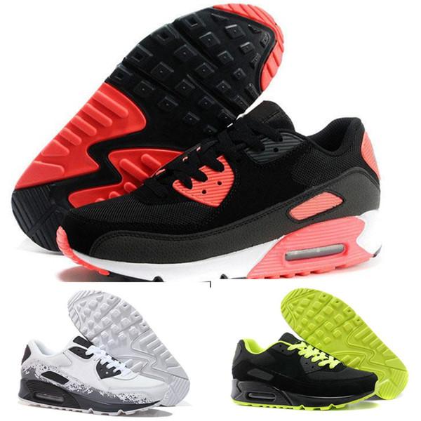 Großhandel Nike Air Max Airmax 90 Herren Turnschuhe Schuhe Klassische 90 Männer Und Frauen Laufschuhe Schwarz Rot Weiß Sport Trainer Kissen Oberfläche