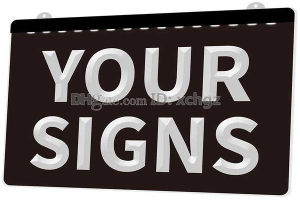 [F001] Your Signs Plaque NEUES 3D-Gravur-LED-Lichtzeichen Passen Sie auf Wunsch 8 Farben an