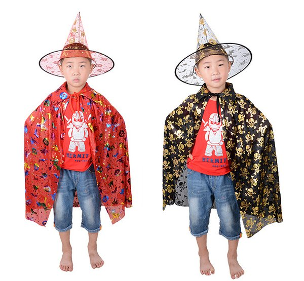Child Cloaks Hat Suits Wizard Cape Costume Party Witch Halloween Cap Skeleton Print Gown Robe Teenager Cosplay Costumes Accessories