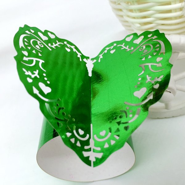 240pcs Laser Cut Hollow Heart Paper Card Napkin Ring Serviette Buckle Holder Hotel Wedding Party Favour Decoration