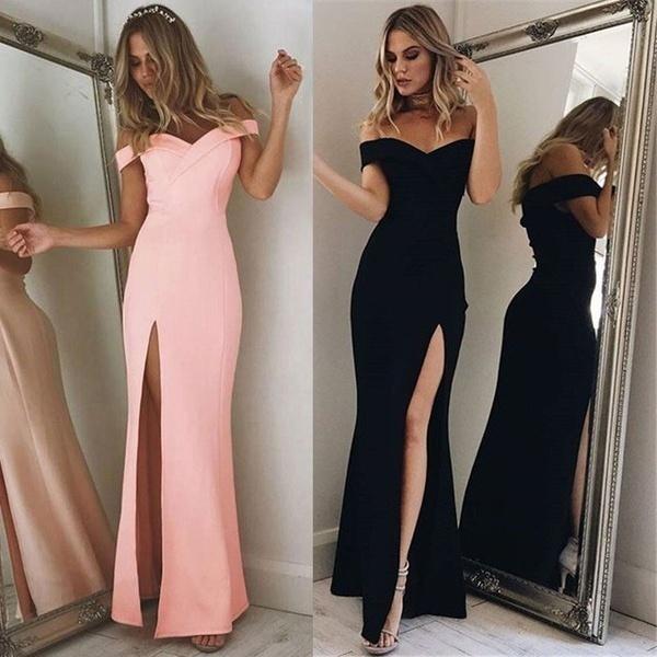 Kadınlar Kış Kapalı Omuz Uzun Elbise Yüksek Yan Yarık Seksi Balo Elbise Kısa Kollu Parti Akşam Elbise