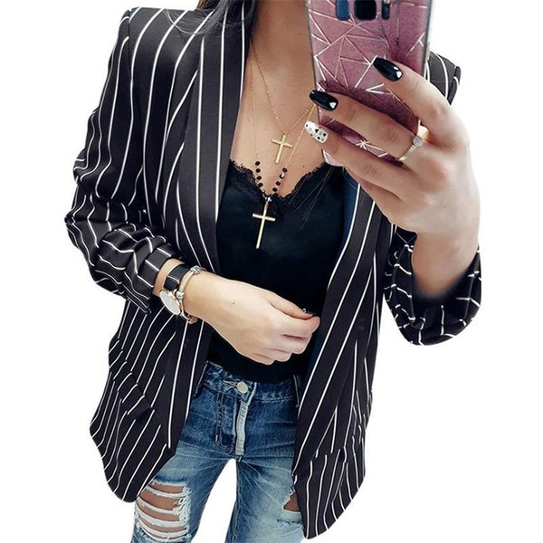 Fashion Office Women Suit Blazer Striped Slim Fit Autumn Jacket Casual Long Sleeve Office Ladies Suits Coats Female Outwear 2018 L18101301