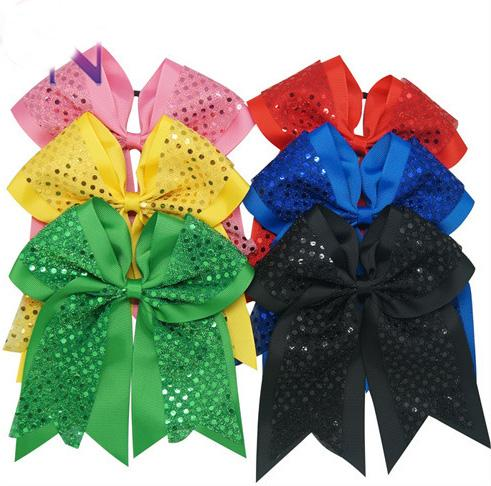 """8"""" Sequin Large Hair Accessories Cheerleading Cheer Bow With Elastic Band For Girls"""