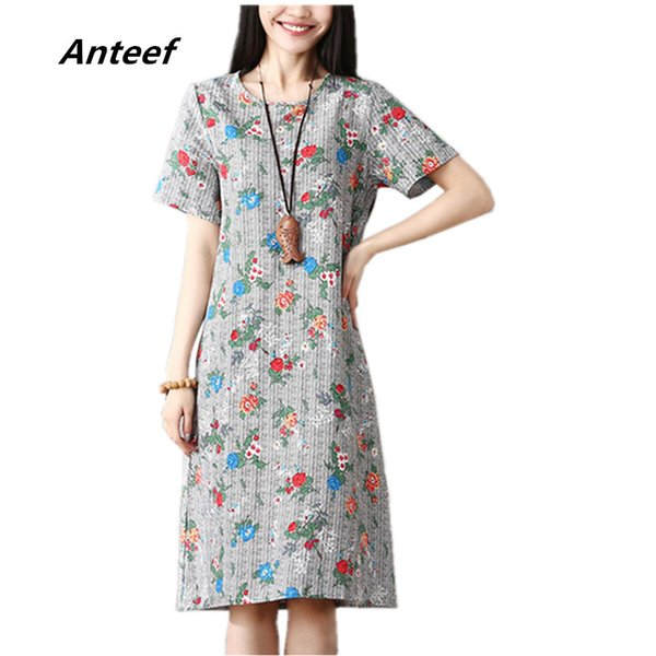 c8cc6122a5a Anteef cotton linen vintage floral print clothes women casual loose midi summer  dress vestidos femininos 2018
