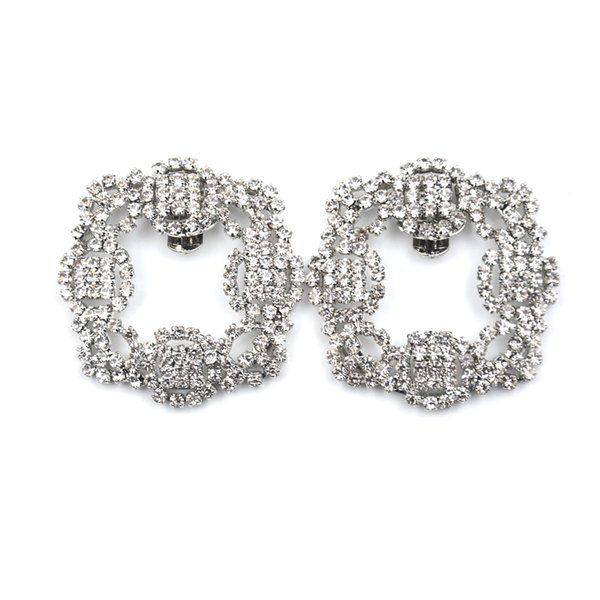 1 Pcs Women Crystal Shoe Clip Decoration Shoe Rhinestone Charm Metal Square Clamp Bridal Shoes Rhinestone Accessories