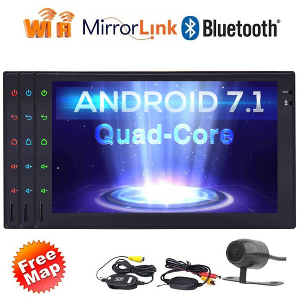 Eincar Quad Core Double 2Din Android 7.1 In Dash Car Stereo Auto Radio Audio GPS Navigation WIFI Bluetooth Mirrorlink Wireless Backup Camer