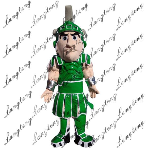 2018 New alta qualidade verde guerreiro trajes da mascote para adultos de circo natal Halloween Outfit Fancy Dress Suit Free Shipping012