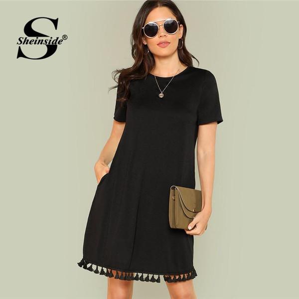 Sheinside Black Shift Dress Office Ladies Workwear Pockets Tassel Elegant Dress Summer Short Sleeve Plain Casual Short Dress