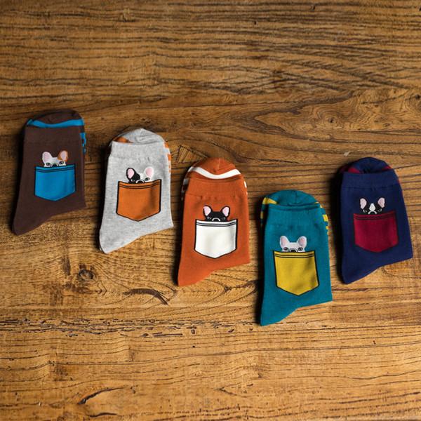 Meias homem dos desenhos animados bolso Animal Pet homem meias inverno quente algodão grosso EUR39-44