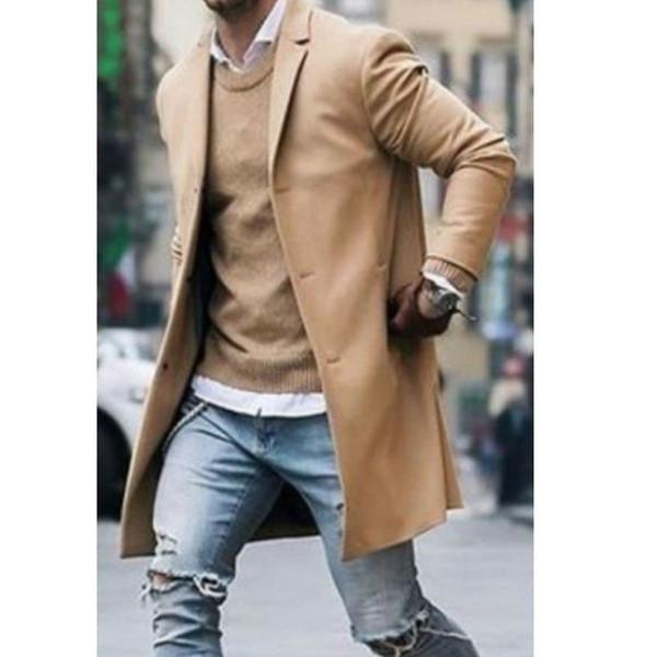 Chegada nova Moda Casaco De Lã Dos Homens de Inverno Trench Coat Outwear Casaco de Manga Longa Casaco Casaco Inteligente