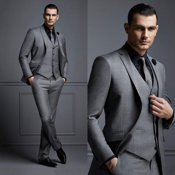Fashion Grey Mens Suit Cheap Groom Suit Formal Man Suits For Best Men Slim Fit Groom Tuxedos For Man(Jacket+Vest+Pants)
