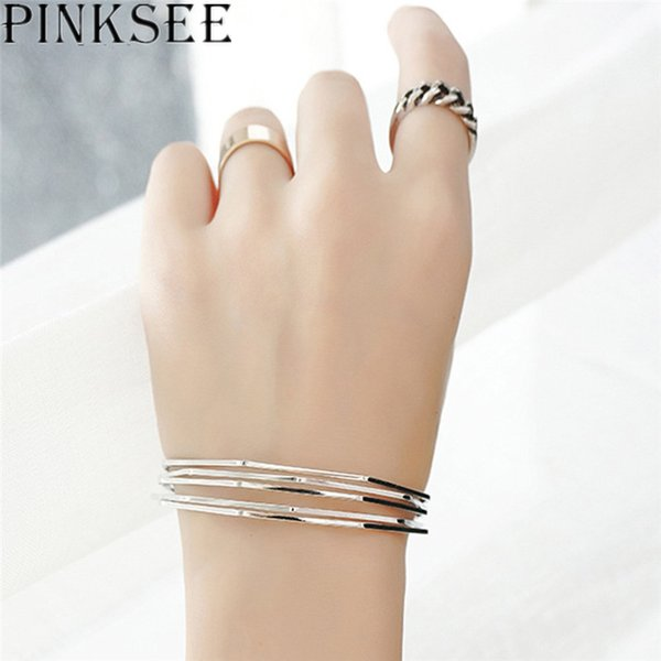 PINKSEE Fashion Popular Acrylic Bangles Multi-level Round Open Cuff Bracelets for Women Wild Charm Jewelry Accessories